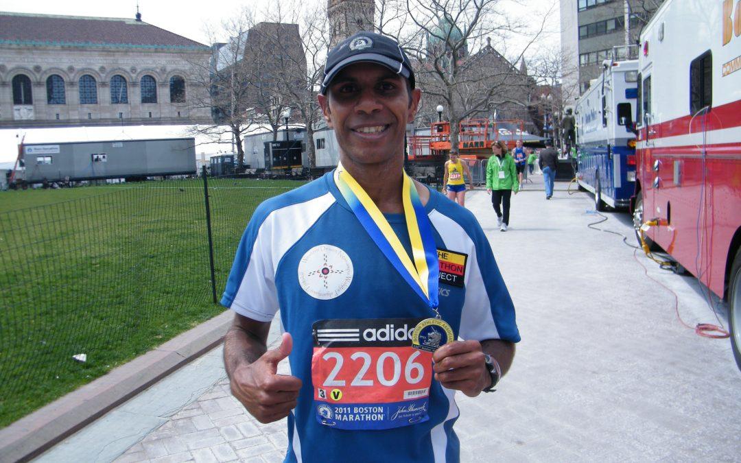 Charlie runs the Boston Marathon!